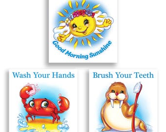 Nursery Wall Art, Good Morning Sunshine, Children Bathroom Decor, Crab Walrus, Sea Art, Wash Hands, Brush Teeth, Bath Art, Kids Art Set of 3