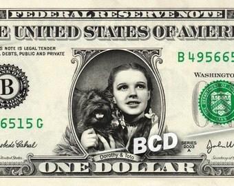 DOROTHY & TOTO Real Dollar Bill Wizard of Oz Money Cash Collectible Memorabilia