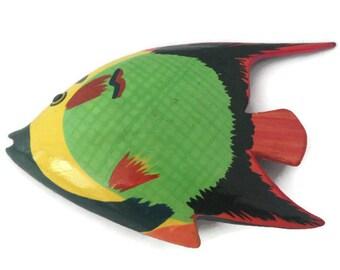 Fish brooch - Fish Pin -Fish Jewelry - Fishing - Fish Lover Gift, Wood Brooch, Vintage Brooch - Colorful Fish - Fish Print - Fishing decor