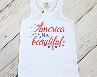 Fourth of July Tank - 4th of July Shirt - Patriotic Tank - America the Beautiful - Girls 4th of July - Fourth of July Outfit - Baby Girl 4th