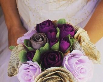 Rustic Wedding bouquet Purple Crepe paper wedding bouquet, old book pages flowers