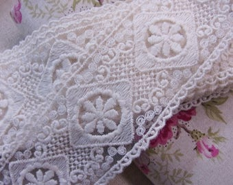 "Double Edge Embroidery Mesh Net Tulle Lace Trim Ivory 5cm(2"") Wide 1yd # 3344"