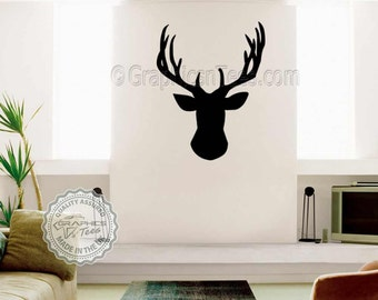 Stags Head Wall Sticker, Available in Various Sizes and Colours, Home Wall Decal