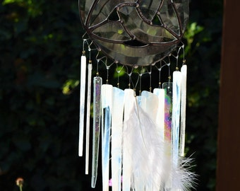 Wind Stained Glass Windchime (Iridescent clears/whites)