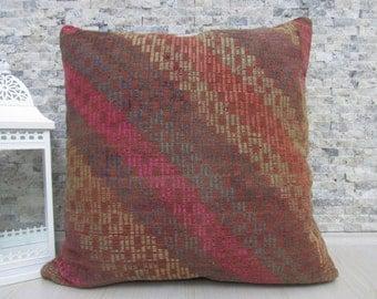 "Handwoven Embroidery Turkish Kilim Floor Pillow Kilim Pillow 28"" x 28"" Kilim Rug Turkish Pillow Boho Pillow Aztec Pillow Kilim Cushion"