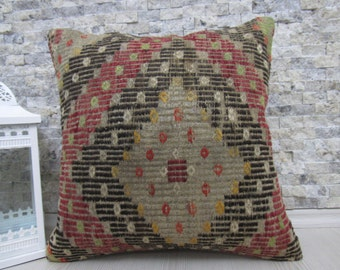 Handwoven Vintage Rug Embroidery Design Kilim Pillow  18 x 18 Vegetable Dyed Turkey Pillow Bohemian Pillow Floor Pillow Throw Pillow Lumbar