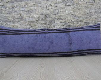 Turkey Pillow Decorative Pillow Overdyed Blue Kilim Pillow 12 x 36 Boho Pillow Kilim Cushion Bohemian Pillow One Colour Blue Pillow