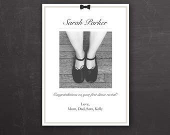 8.5x11 Dance Recital Template - Congratulations Card - Black White - Photoshop Template - Photoshop PSD *INSTANT DOWNLOAD*