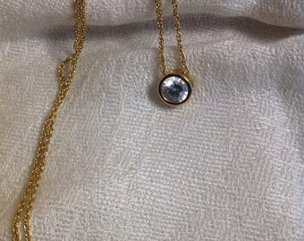 Vintage Gold Tone Chain With Solitaire Round Crystal Korea 19 Inches