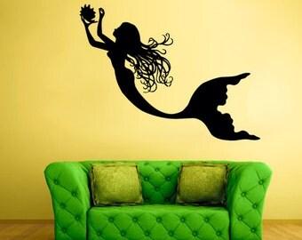 rvz2048 Wall Vinyl Decal Sticker Bedroom Decal Sea Ocean Mermaid Girl Cartoon Nymph