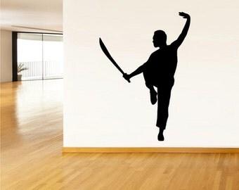 rvz2537 Wall Vinyl Decal Sticker Bedroom Dorm Sport Kung Fu Karate Block Silhouette Gimnastics Sword