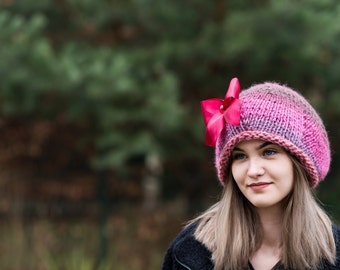 Colorful beanie,  Wool slouchy hat, Lolita beanie , Romantic chunky hat,  Woomens hat, Hand knit hat , Oversized  beanie,  Ready to ship
