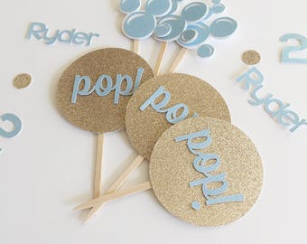 Bubbles Pop Cupcake toppers - Bubble Theme Birthday Party - Glitter