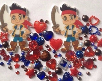 2 Pirate's mix crafts cabachon  flatback resin scrap booking card making frames hearts flowers stars gems pearls boys swords