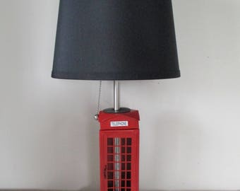 Tin Booth. Telephone Booth Lamp Shade. Telephone Lamp. Vintage.