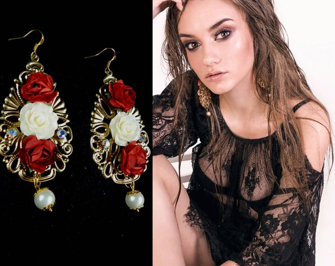 White Red Gold Filigree Pearl Baroque Flower earrings Long Drop earrings Large drops Rose earrings gift Flowers jewelry Floral Renaissance