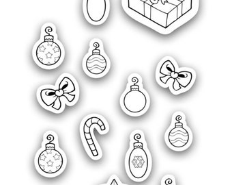 Christmas Coloring Decals - Christmas Tree and Presents