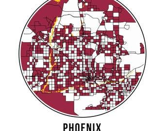 Phoenix Football - Community Color Map - Poster Print Wall Art- Neighborhood Fan