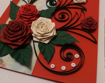 Quilled Valentine card,  Valentine's day card,  Mother's day card,  Handmade quilling Valentine card,  Paper card,  Paper roses,  Love card