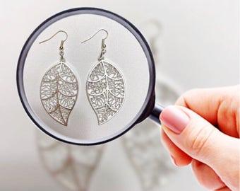 Silver Plated Filigree Leaf Earrings - Silver Earrings - Silver Leaf Earrings - Leaf Earrings