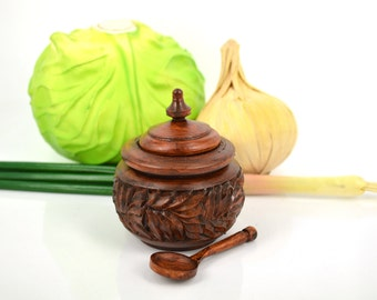Wood carving, wooden carved salt cellar with spoon, salt box wooden, salt cellar with lid, wood kitchen canister