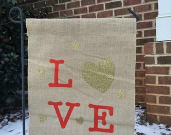 Valentine's garden flag, Burlap flag, hearts, Love