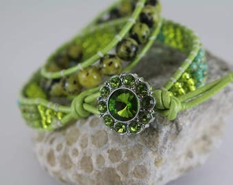 DOUBLE WRAP BRACELET - Beaded - Handcrafted - Shades of Green - Free Shipping