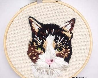 Custom Cat Portrait Embroidery - Detailed