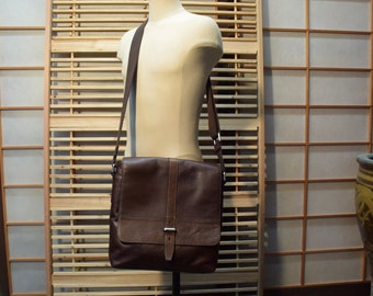 Dark Brown Leather Men Messenger Bag Fossil