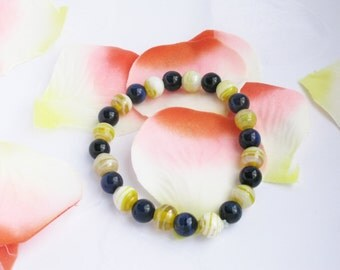 Hawk Eye and yellow 8mm ball man and woman Unisex bracelet