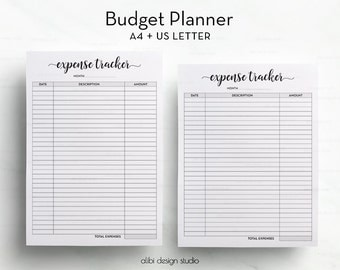 Budget Planner, Income Tracker, Expense Tracker, A4 Printable, Letter, Budget Printable, Financial Planner, Money organizer, A4 Binder