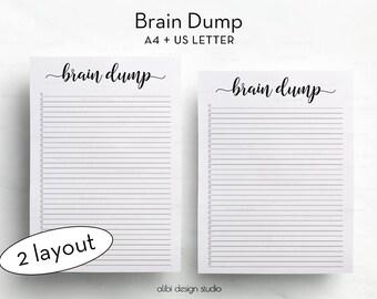 Brain Dump, A4 Printable, Brain Dump Notebook, To Do List, Brain Dump Printable, Creative Template, A4 Insert, Brain Dump Insert, Brainstorm