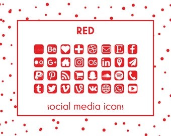 Social Media Icons • Red Icons • Red Buttons • Social icons • Icons for website, blog, business cards and resume • Social Media Buttons