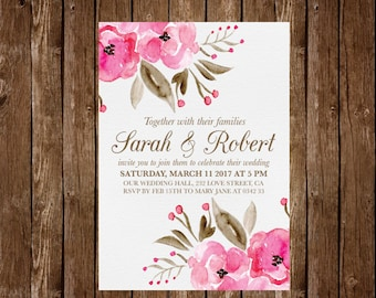 Pink wedding invitations, Floral Wedding Invitation, Printable Wedding Invitation, floral invitation, watercolor wedding, pink flowers