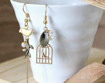 Bird in the Forrest mismatched earrings, Dangle & Drop Earrings, gift for her, clip on earrings, vintage earrings, asymmetrical earrings