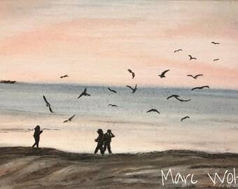 Tanz der Möwen, Pastellmalerei