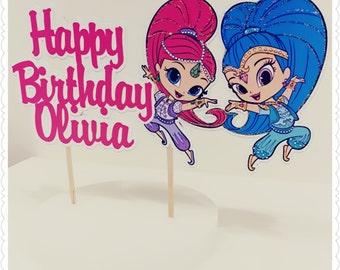 Shimmer and Shine--Inexpensive Personalized Cake Toppers with Name & Character--Kid's Birthday Party Decorations