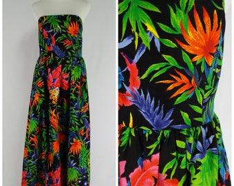 Vintage Womens 1980s Tropical Print Strapless Party Dress | Size M