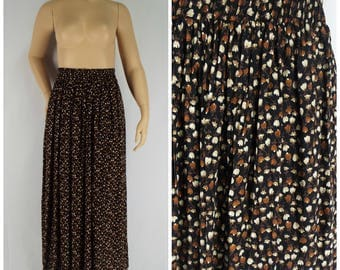 Vintage Womens 1990s Black Rayon Midi Skirt with Floral Print | Size M