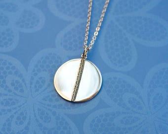 Geometric Circle.....Sterling Silver Disc Pendant