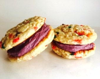 Funfetti Whoopie Pies, Low Carb, Gluten Free, Protein, Low Sugar, Sprinkles, Buttercream, Birthday