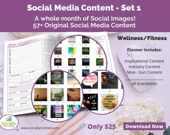 Social Media Images - Content for Fitness / wellness (SET 1) -- 57+ original images with blank planner pages, checklists, tasks, and goals