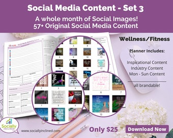 Social Media Images - Content for Fitness / wellness (SET 3) -- 57+ original images with blank planner pages, checklists, tasks, and goals