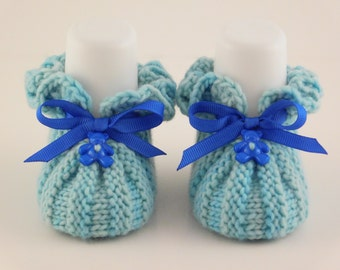 Newborn Baby Booties, Blue Knit Booties, Merino Wool Boots, Baby Boy Gift, Baby Shower Gift, Warm Cozy Boots, Crib Shoes, Cozy Newborn Boots