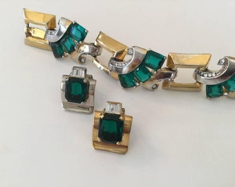 Art Deco Mazer Bracelet and Earring Set. Late 1930's.