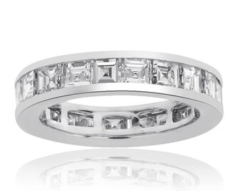 4.20(tcw) Carat Radiant Cut Diamond Eternity Band 14K White Gold G,H Vs-1,2