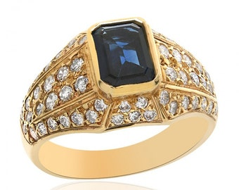 1.25 Carat Blue Sapphire with 1.00 Carat Diamond Ring 14K Yellow Gold