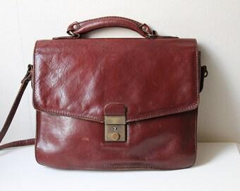 Leather Mini Briefcase, Real Leather A5 Messenger Bag, Vintage Dutch Design Purse