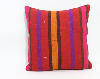 Turkish Striped Cushion Decorative Pillow 18x18 Vintage Multicolor Kilim Pillow Throw Pillow Bed Pillow Room Decor Cushion Cover SP4545-1020
