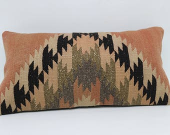 10x20 Handwoven Kilim Pillow Throw Pillow 10x20 Geometric Kilim Pillow Floor Pillow Lumbar Pillow Cushion Cover  SP3050-892